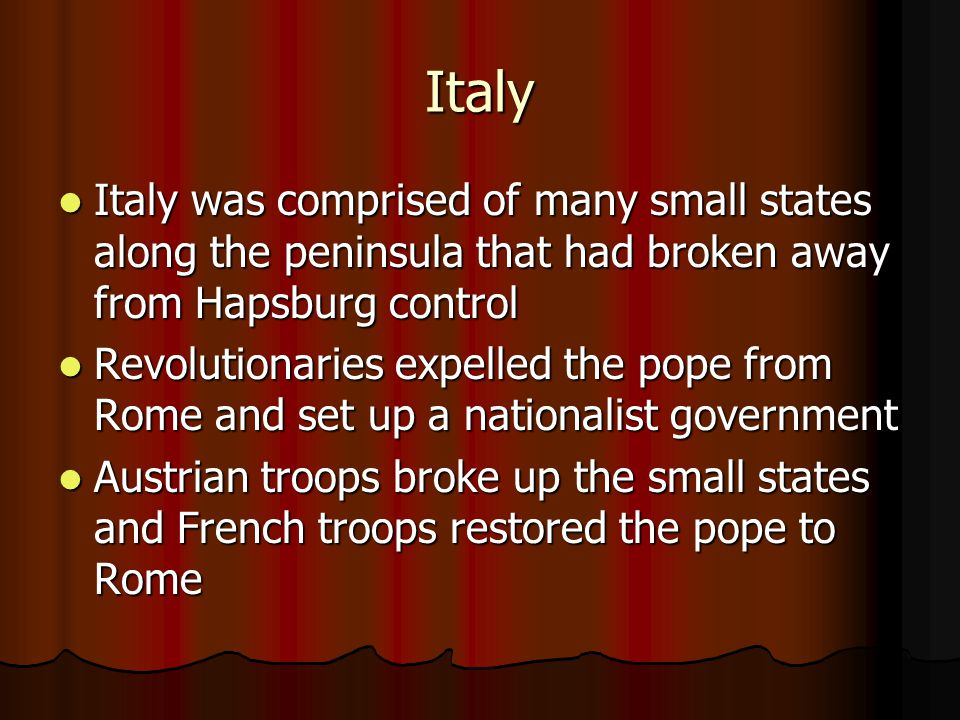 Italy Italy was comprised of many small states along the peninsula that had broken away from Hapsburg control.