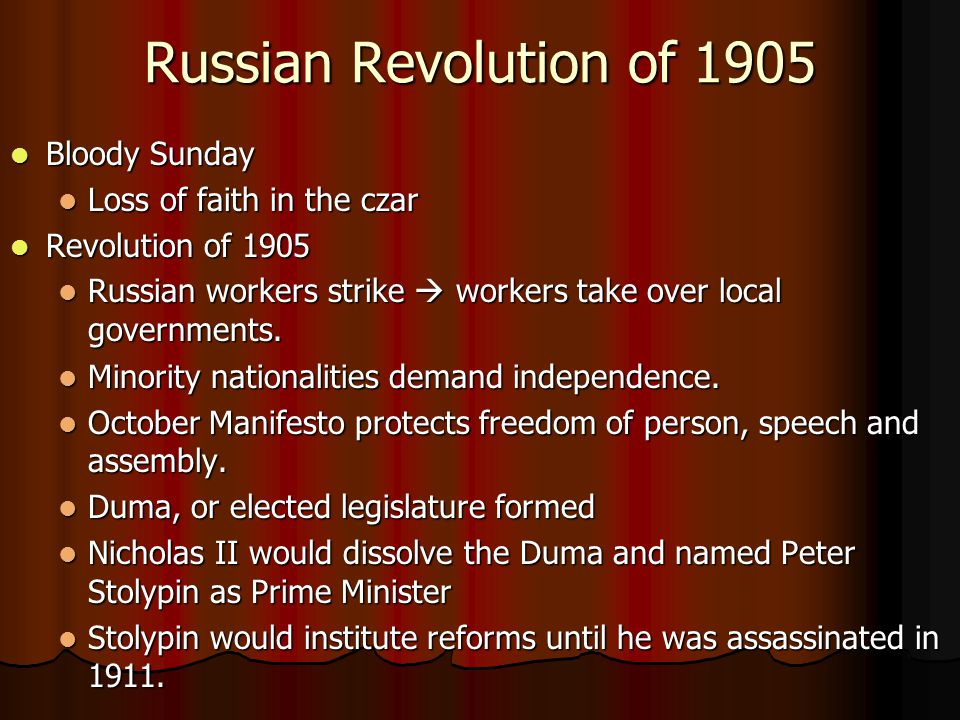 Russian Revolution of 1905 Bloody Sunday Loss of faith in the czar