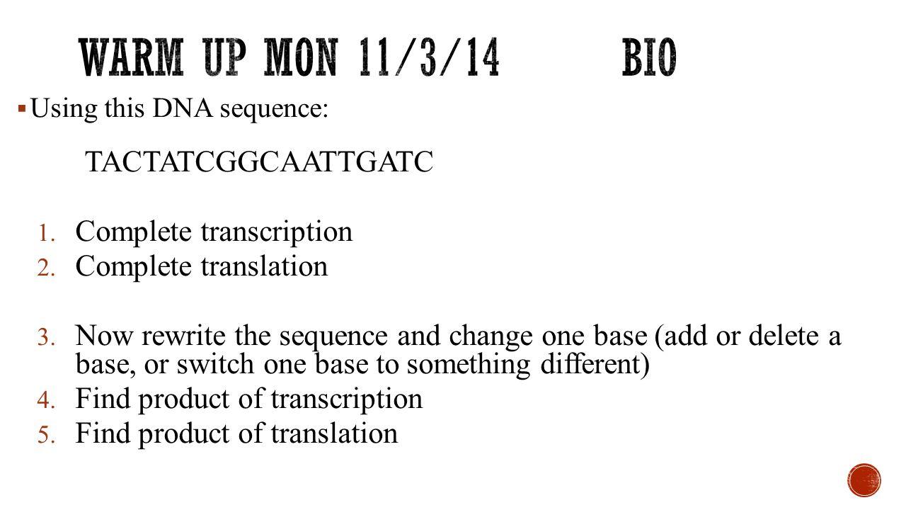 Warm up mon 11/3/14 Bio Complete transcription Complete translation