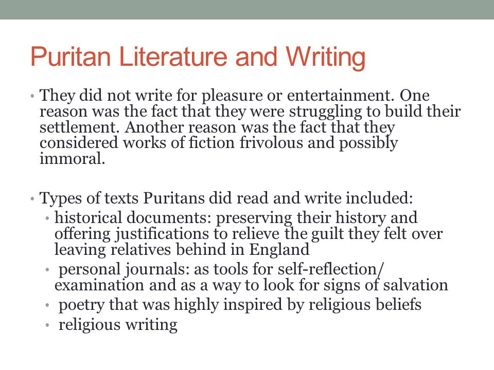 Puritan Literature and Writing