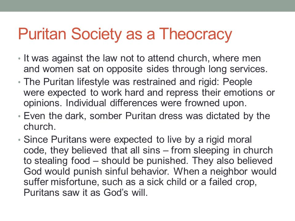 Puritan Society as a Theocracy