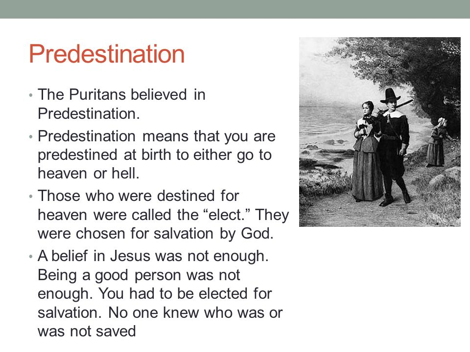 Predestination The Puritans believed in Predestination.