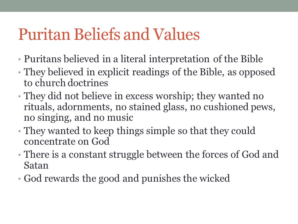 Puritan Beliefs and Values