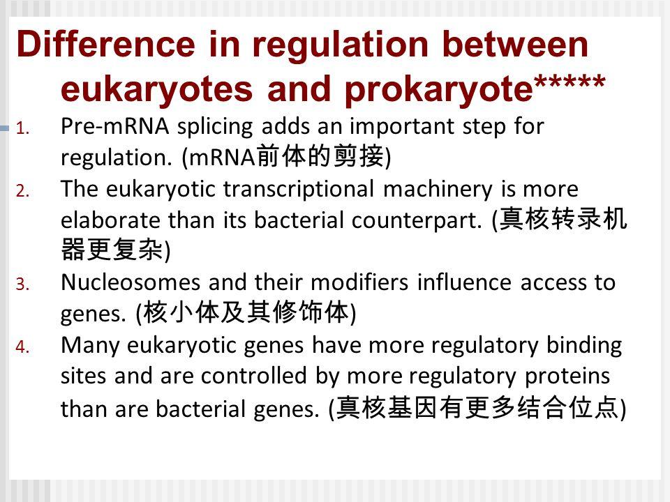 Difference in regulation between eukaryotes and prokaryote*****