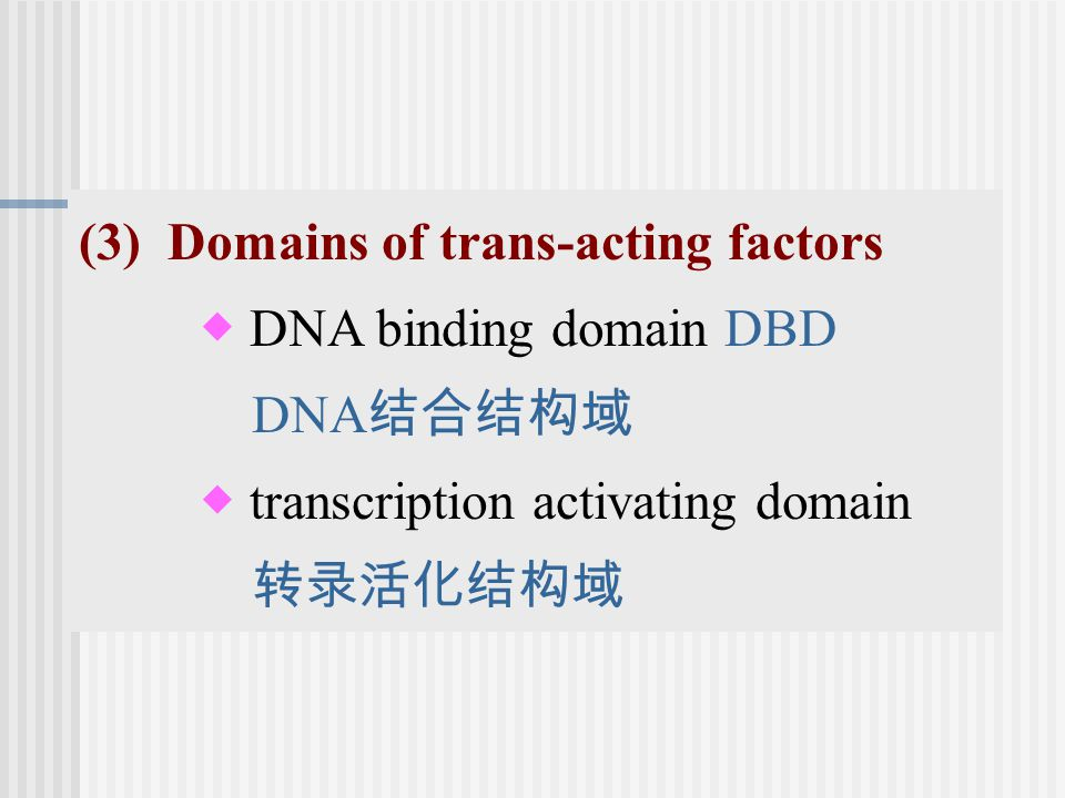 (3) Domains of trans-acting factors