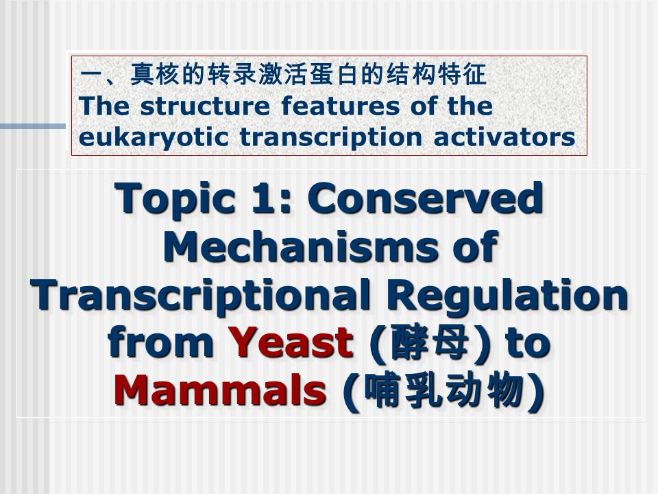 Topic 1: Conserved Mechanisms of Transcriptional Regulation