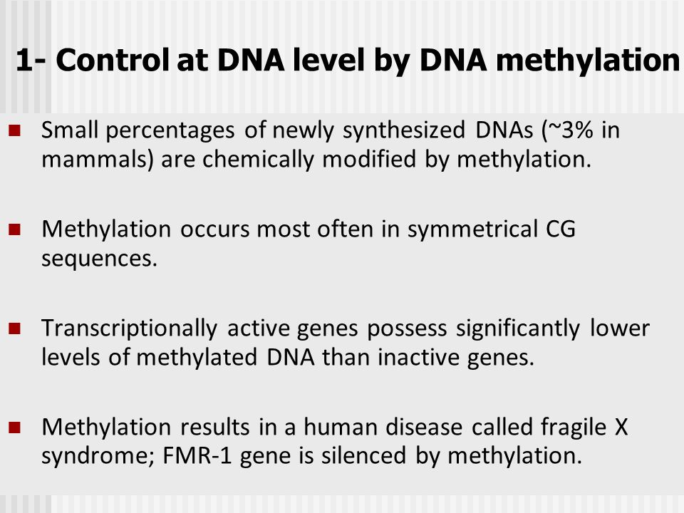 1- Control at DNA level by DNA methylation