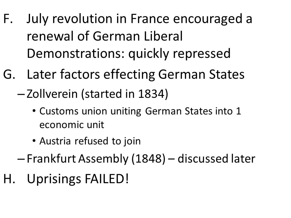 Later factors effecting German States
