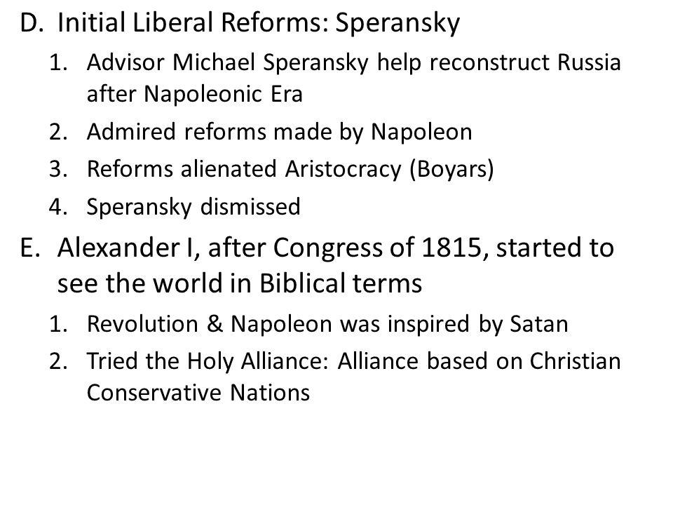 Initial Liberal Reforms: Speransky
