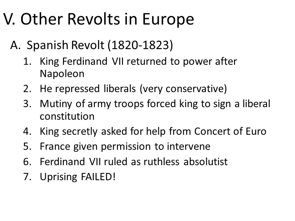 V. Other Revolts in Europe