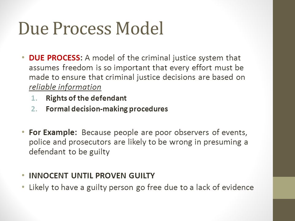 compare three models of criminal justice process Consensus vs conflict criminal justice models amara r crime control and due process model (crime control model) this paper will compare and.