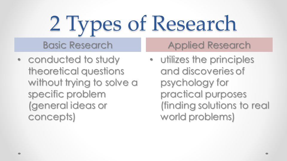 2 Types of Research Basic Research Applied Research