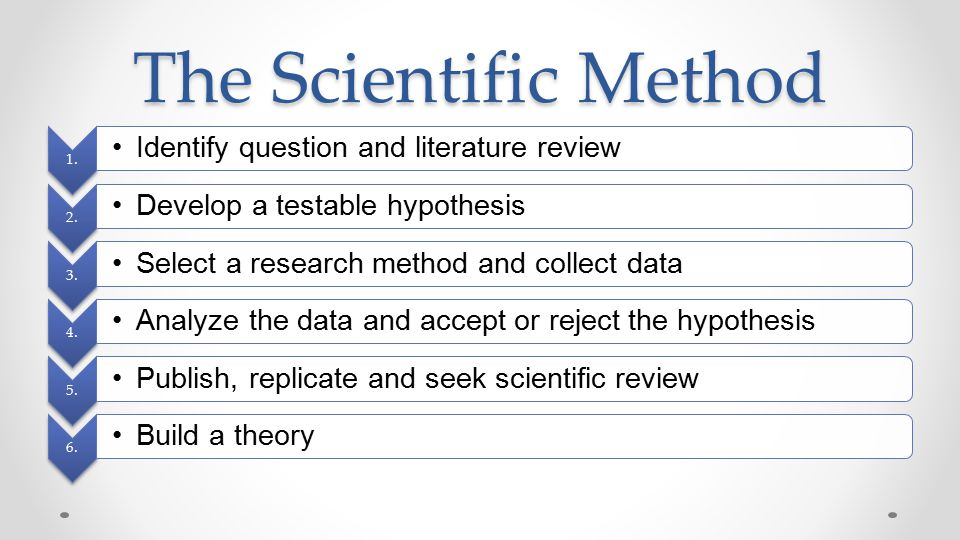 The Scientific Method Identify question and literature review