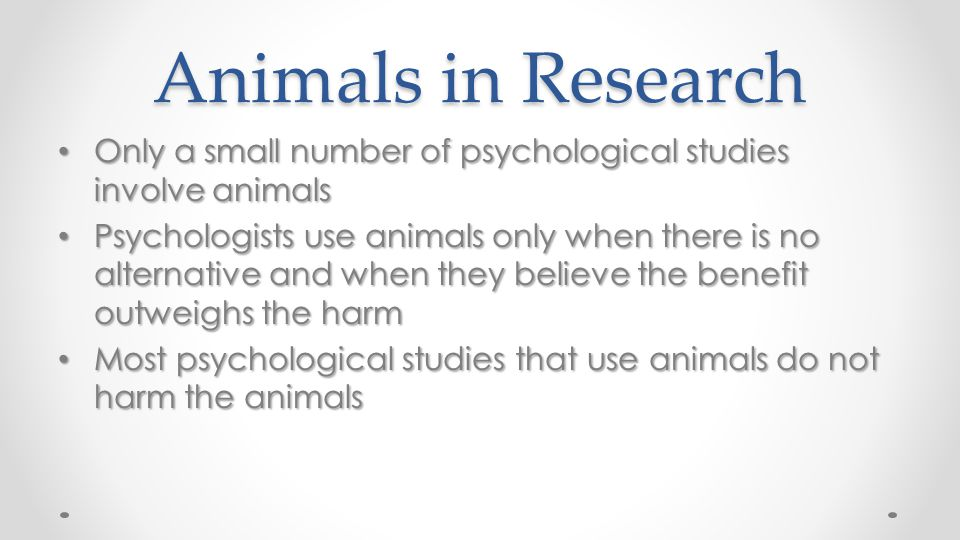 Animals in Research Only a small number of psychological studies involve animals.