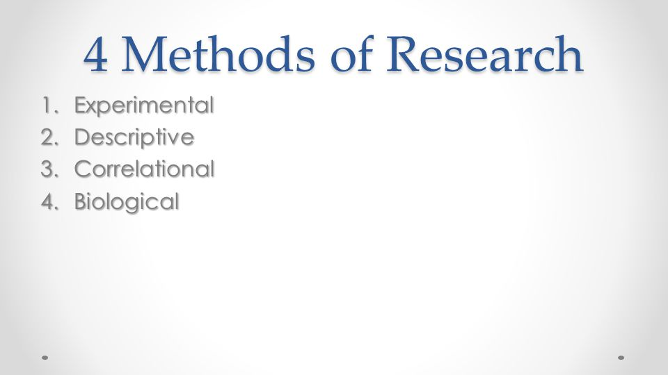 4 Methods of Research Experimental Descriptive Correlational