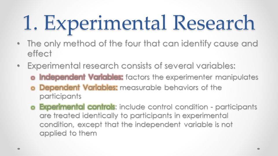 1. Experimental Research