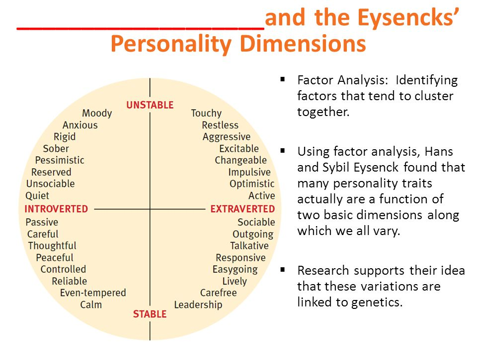 ___________________and the Eysencks' Personality Dimensions