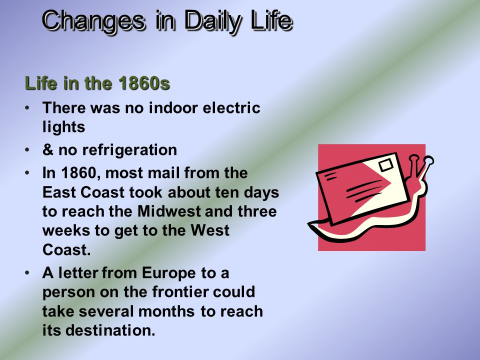Changes in Daily Life Life in the 1860s