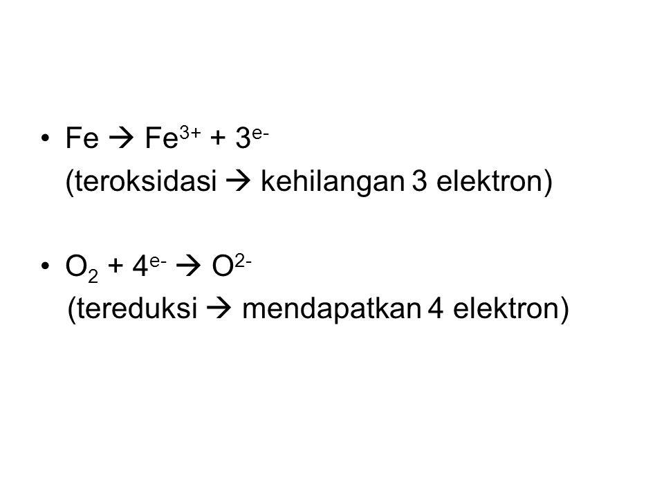 Fe  Fe3+ + 3e- (teroksidasi  kehilangan 3 elektron) O2 + 4e-  O2- (tereduksi  mendapatkan 4 elektron)