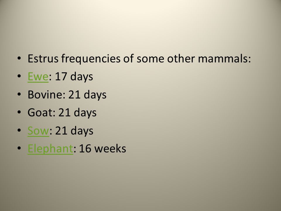 Estrus frequencies of some other mammals: