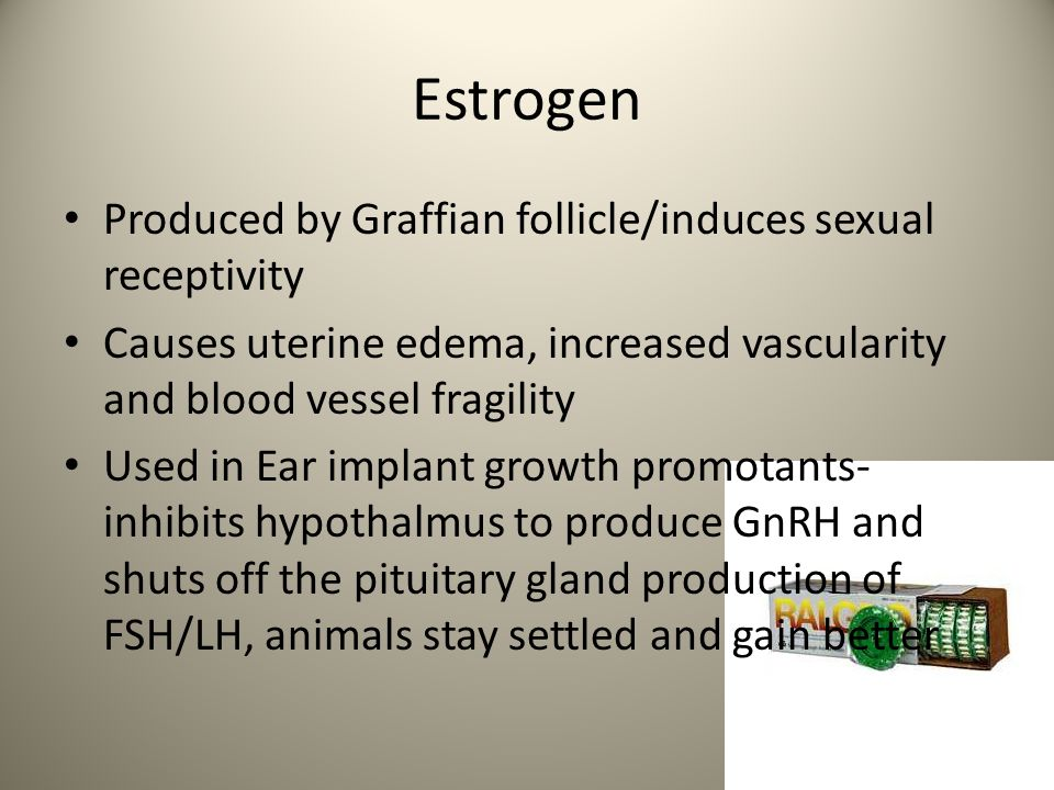 Estrogen Produced by Graffian follicle/induces sexual receptivity
