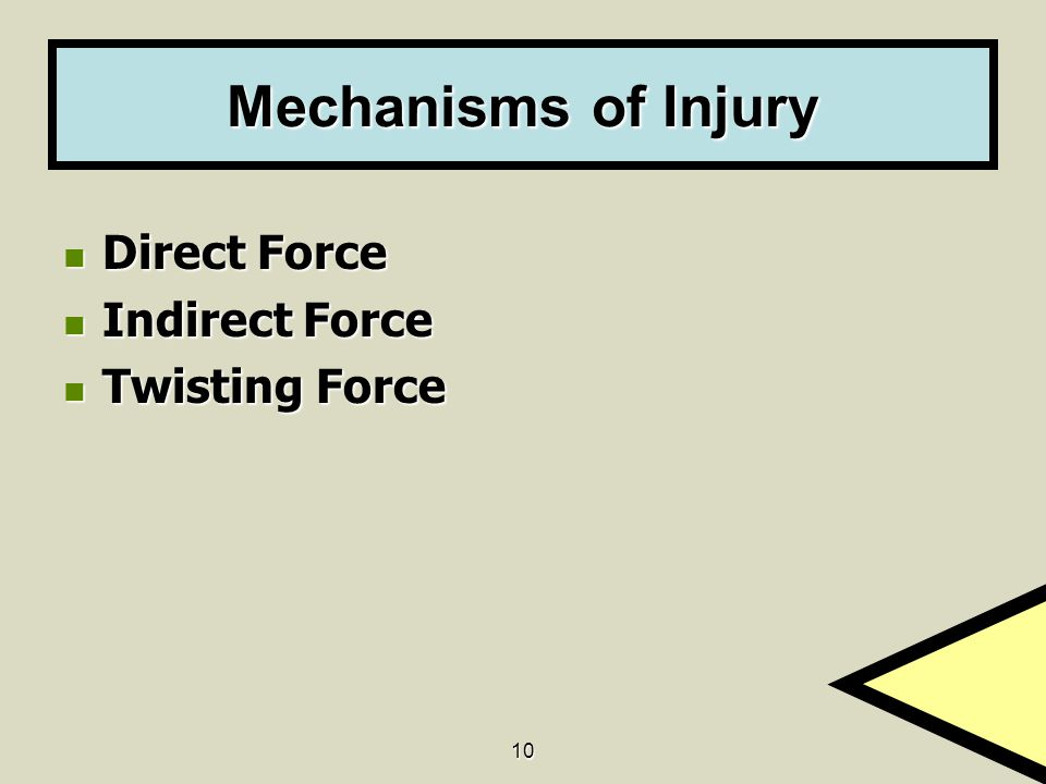 Mechanisms of Injury Direct Force Indirect Force Twisting Force 10