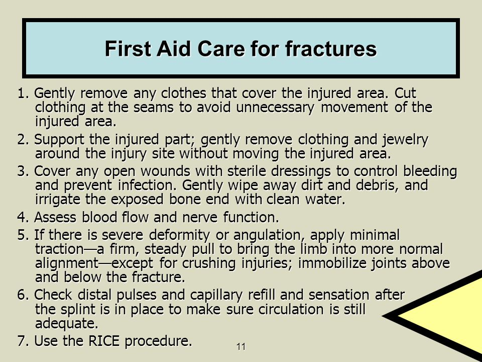 First Aid Care for fractures
