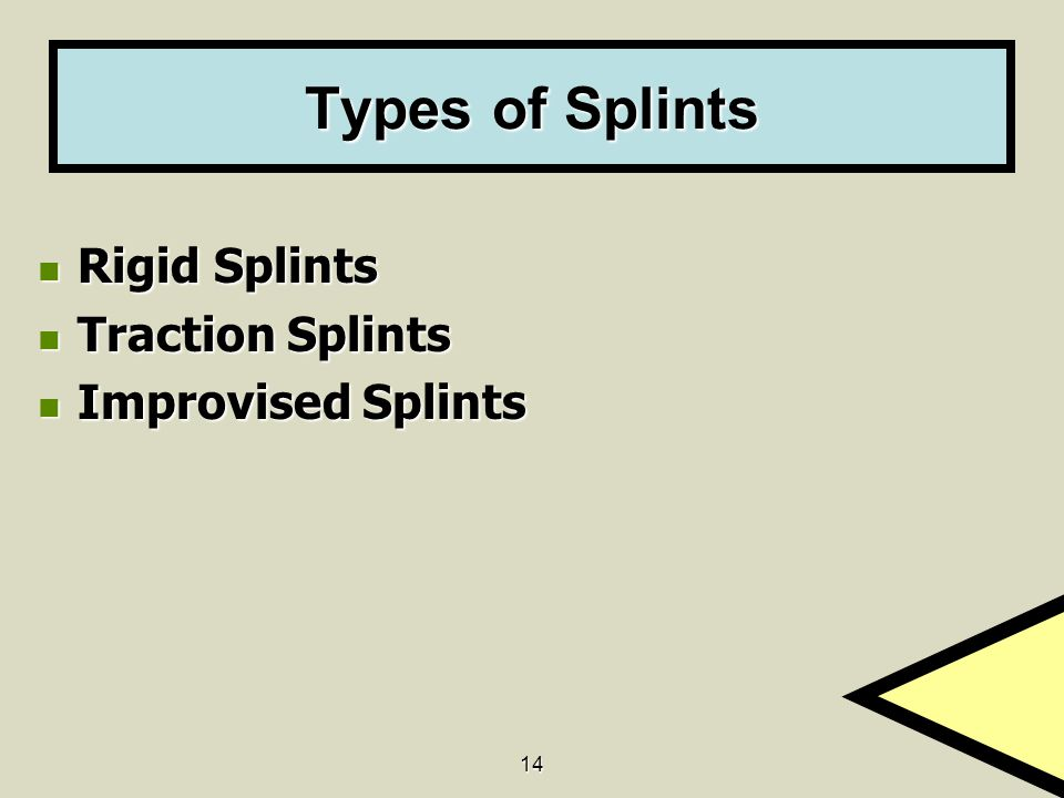 Types of Splints Rigid Splints Traction Splints Improvised Splints 14