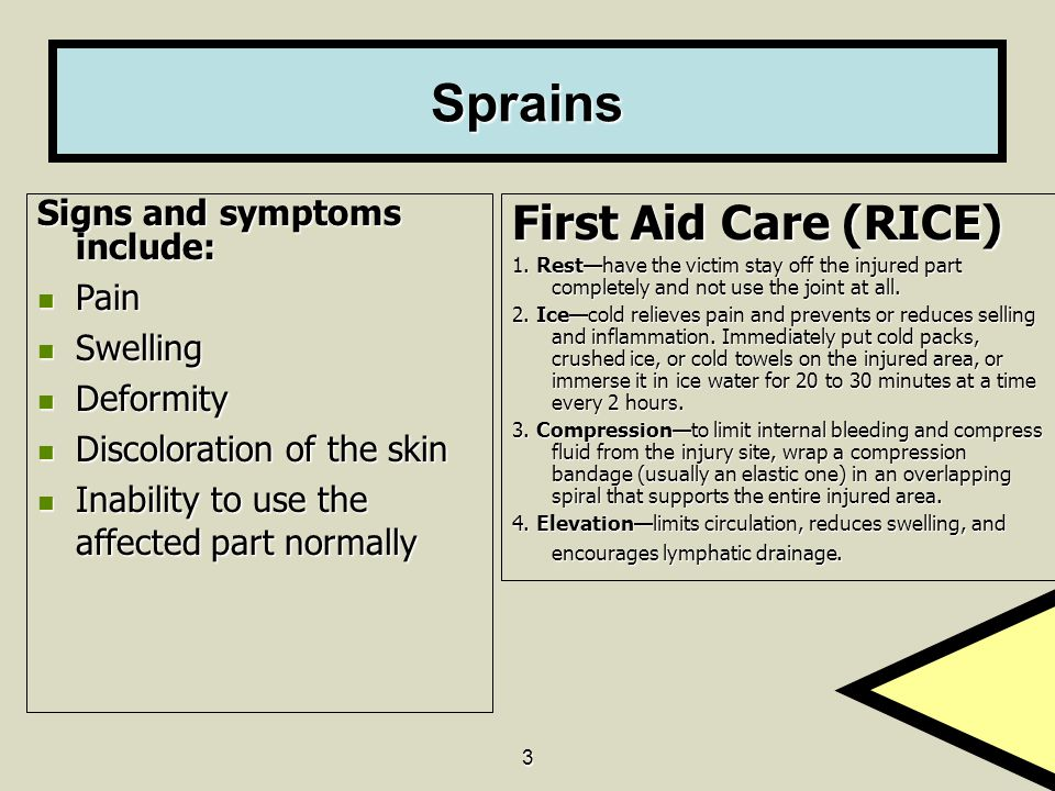 Sprains First Aid Care (RICE) Signs and symptoms include: Pain