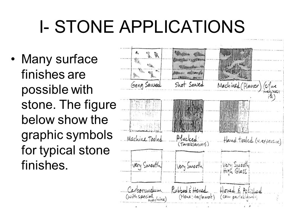 I- STONE APPLICATIONS Many surface finishes are possible with stone.
