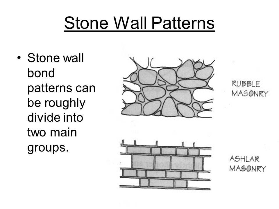 Stone Wall Patterns Stone wall bond patterns can be roughly divide into two main groups.