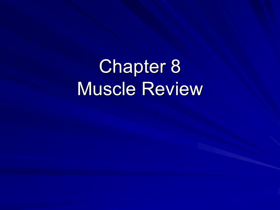 Chapter 8 Muscle Review