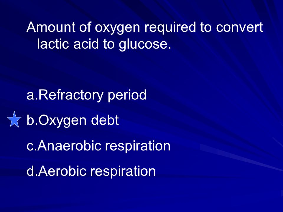 Amount of oxygen required to convert lactic acid to glucose.
