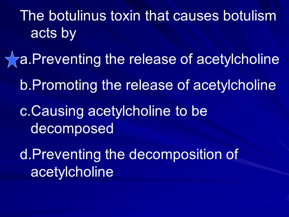 The botulinus toxin that causes botulism acts by