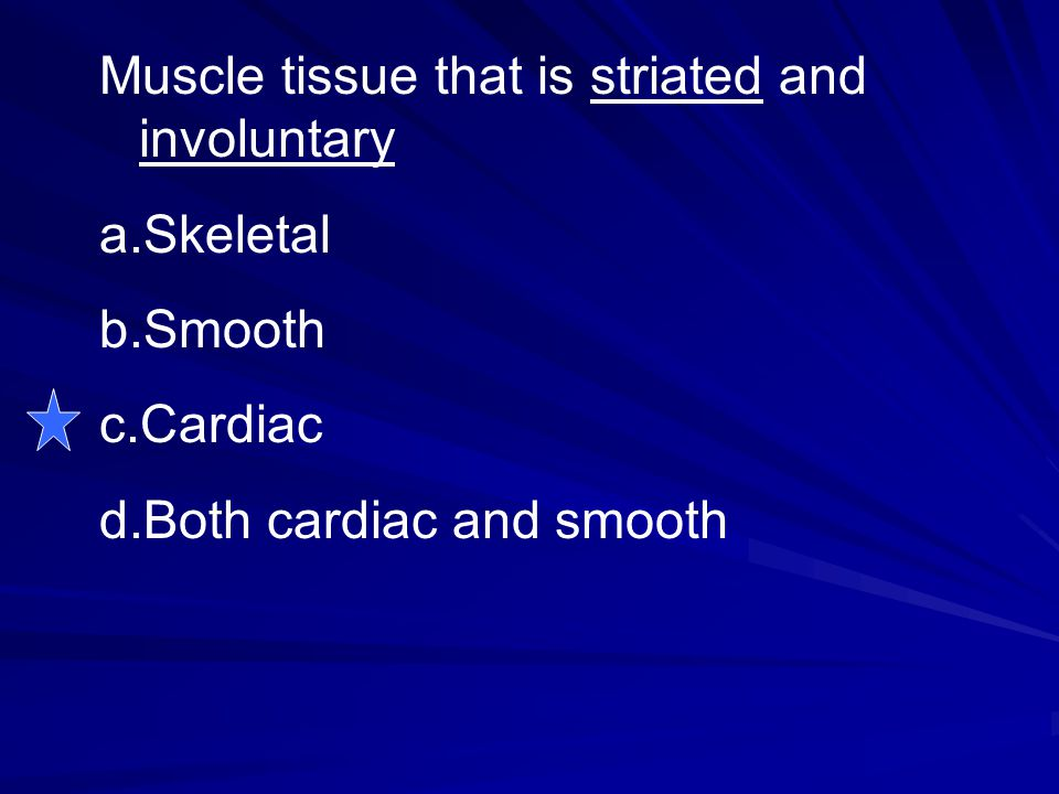 Muscle tissue that is striated and involuntary