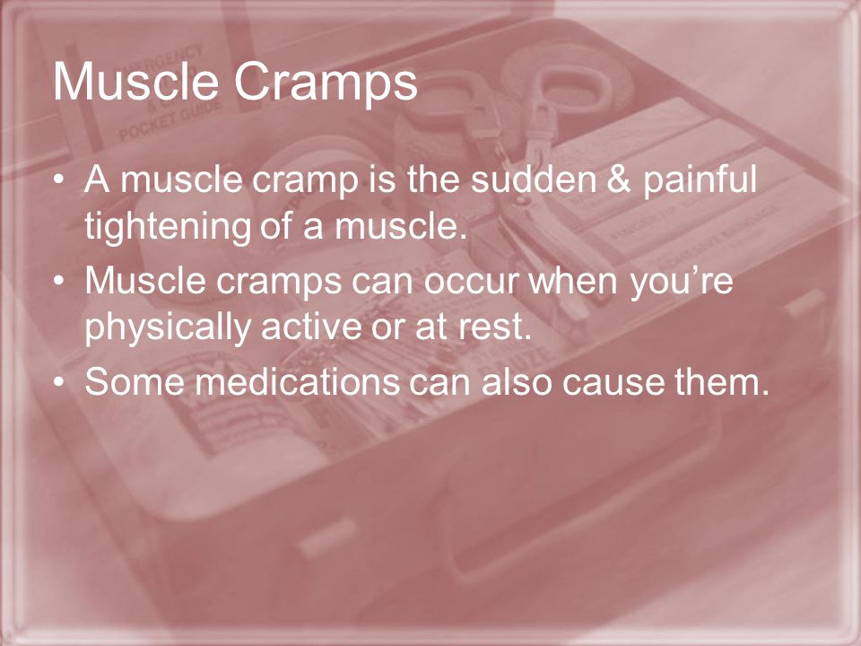 Muscle Cramps A muscle cramp is the sudden & painful tightening of a muscle. Muscle cramps can occur when you're physically active or at rest.