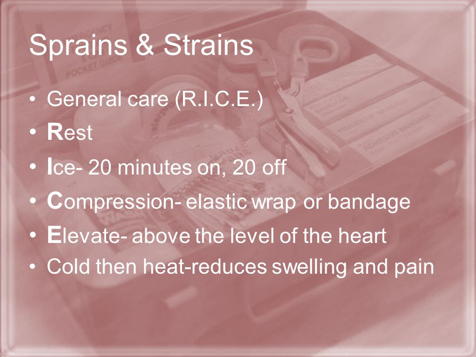 Sprains & Strains Rest Ice- 20 minutes on, 20 off