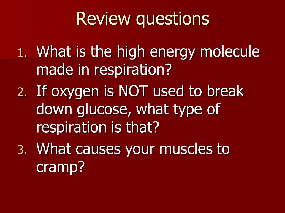 Review questions What is the high energy molecule made in respiration