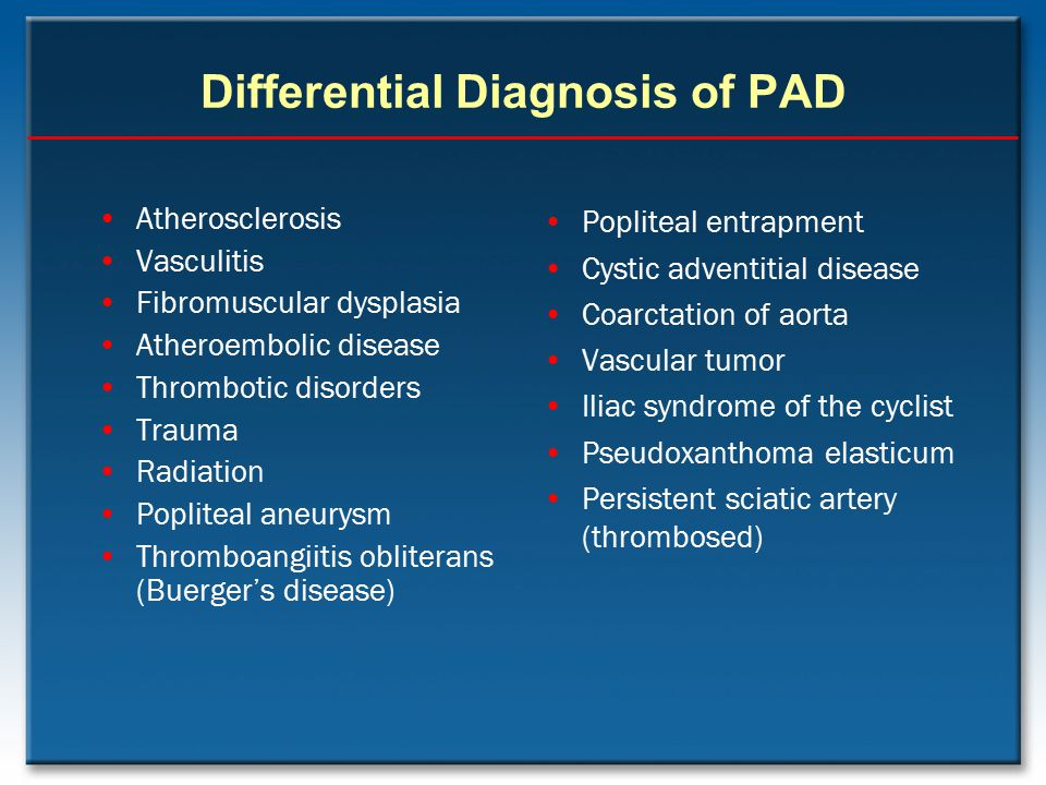 Differential Diagnosis of PAD