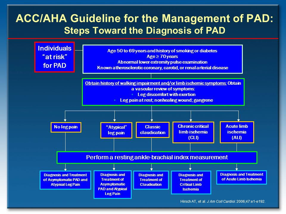 ACC/AHA Guideline for the Management of PAD: Steps Toward the Diagnosis of PAD