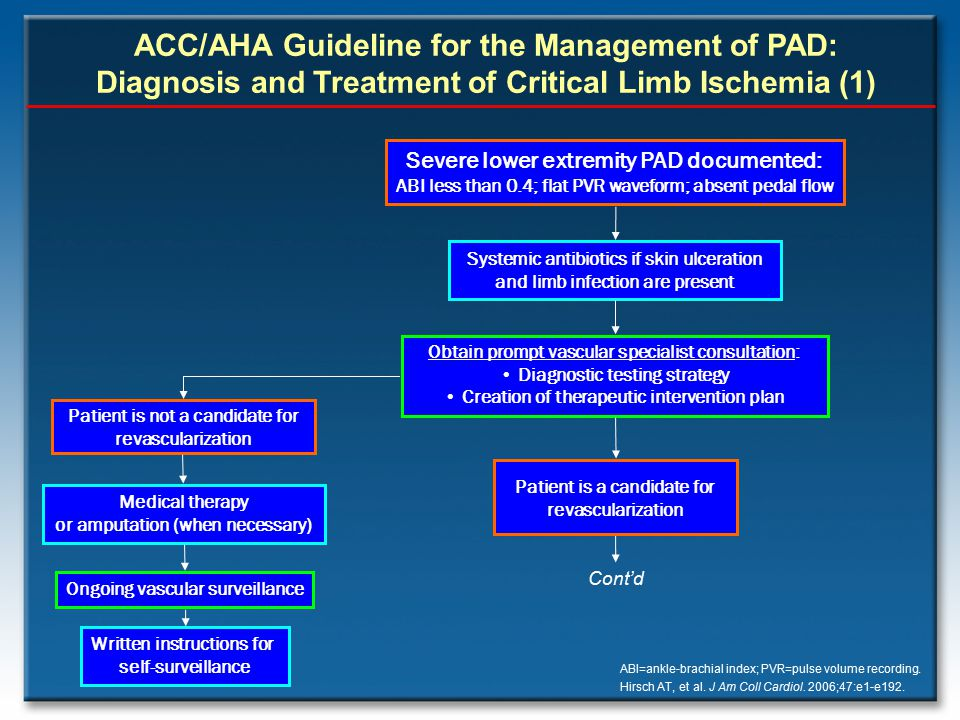 ACC/AHA Guideline for the Management of PAD: Diagnosis and Treatment of Critical Limb Ischemia (1)