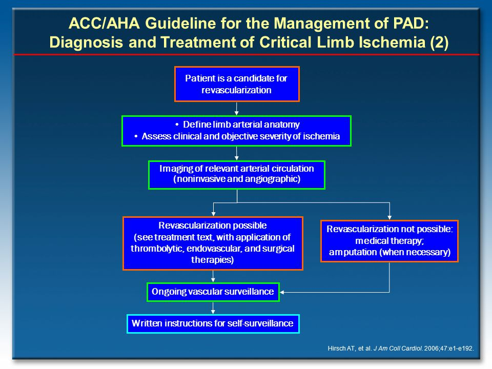 ACC/AHA Guideline for the Management of PAD: Diagnosis and Treatment of Critical Limb Ischemia (2)