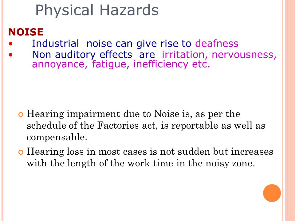 Physical Hazards NOISE Industrial noise can give rise to deafness