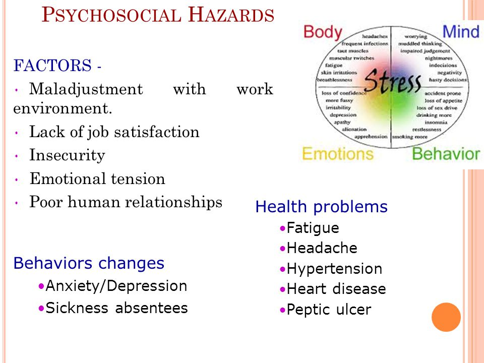 Psychosocial Hazards FACTORS - Maladjustment with work environment.
