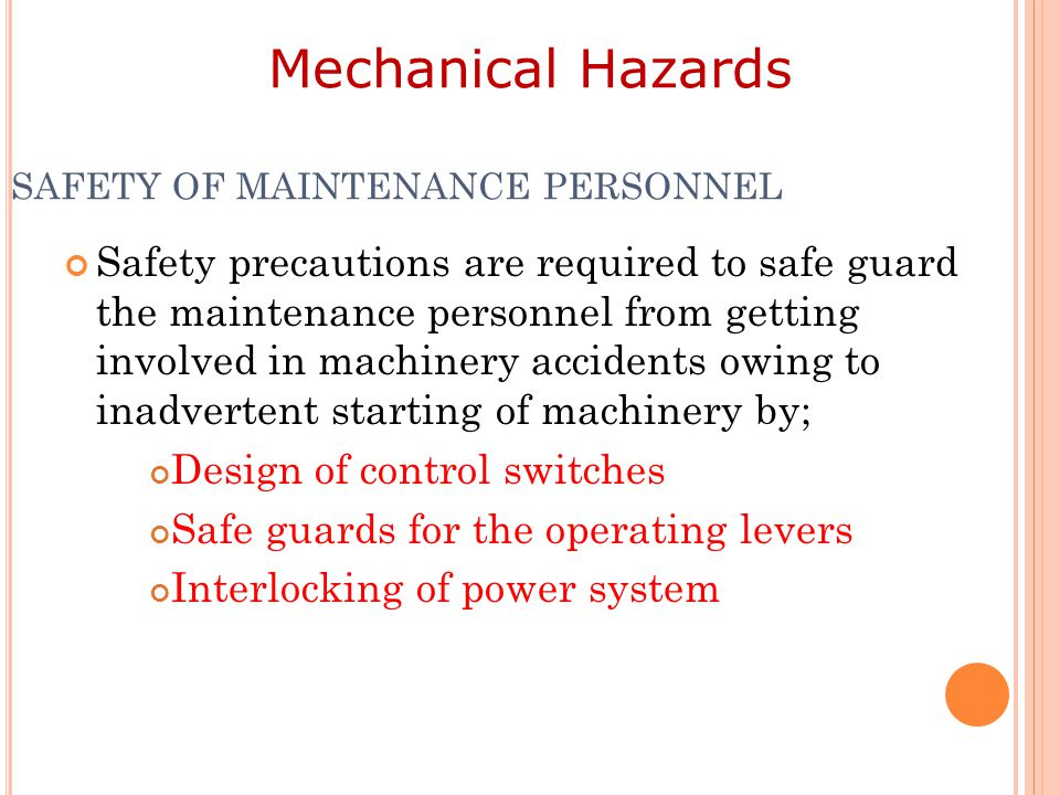 SAFETY OF MAINTENANCE PERSONNEL