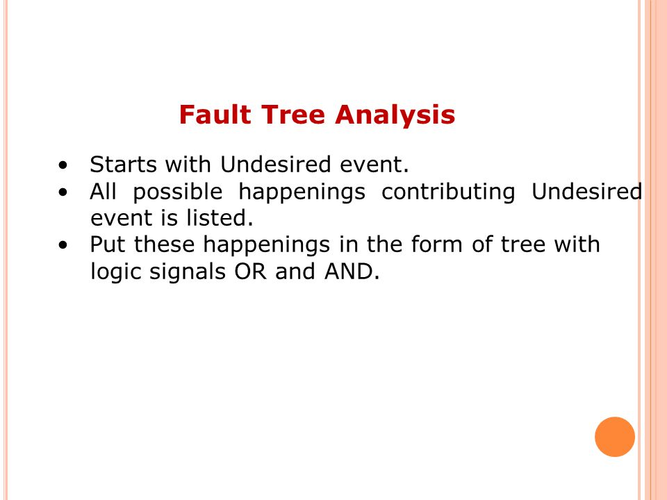 Fault Tree Analysis Starts with Undesired event.