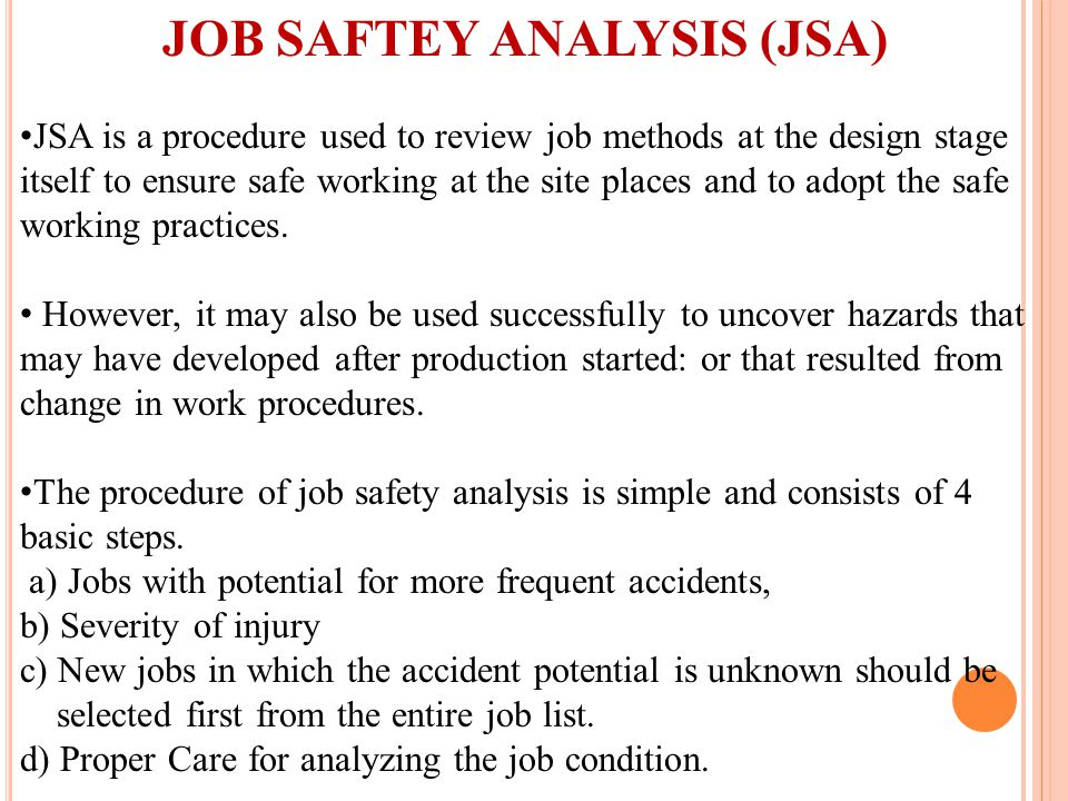 JOB SAFTEY ANALYSIS (JSA)