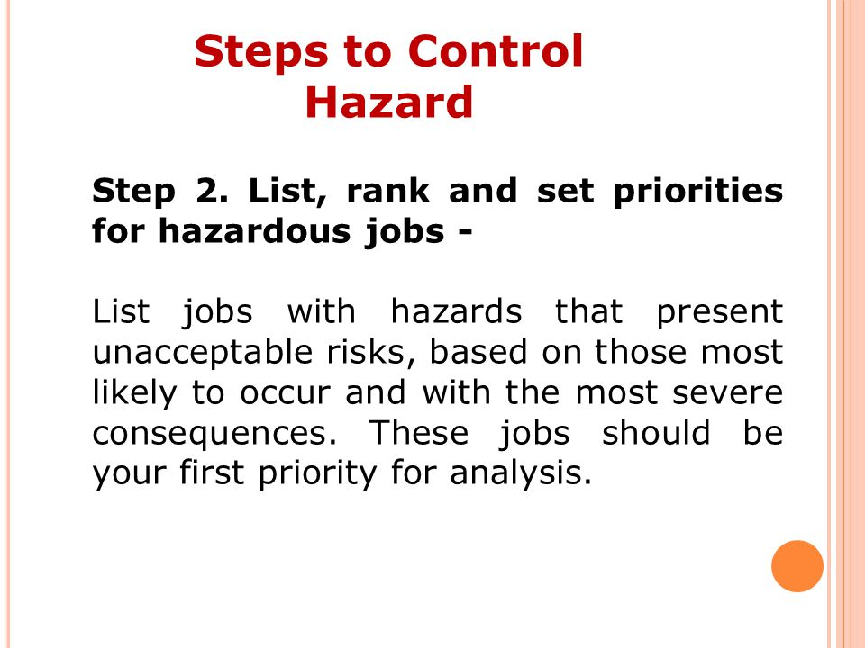 Steps to Control Hazard