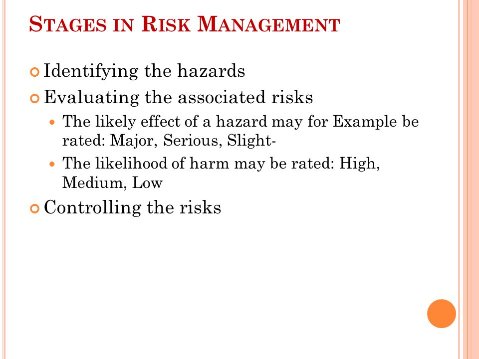 Stages in Risk Management