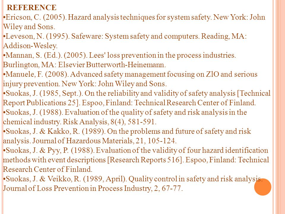REFERENCE Ericson, C. (2005). Hazard analysis techniques for system safety. New York: John Wiley and Sons.